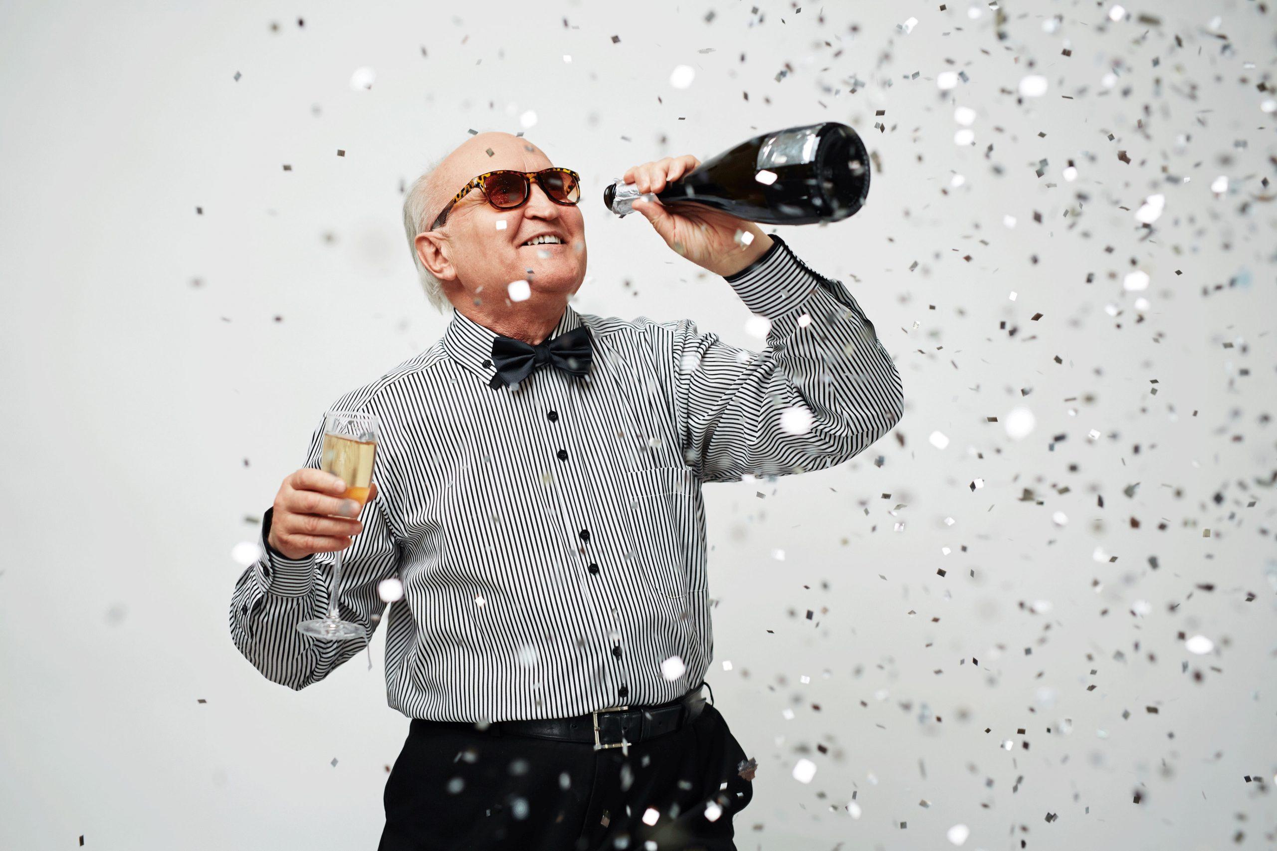 A man celebrates the pension